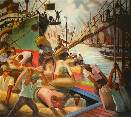 Embarque de cereales, c.1936. Mural de la Escuela Pedro de Mendoza, (reproducción de la época, sobre tabla).